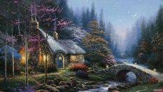 纯手绘森林小屋壁纸