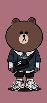 时尚潮流布朗熊手绘手机壁